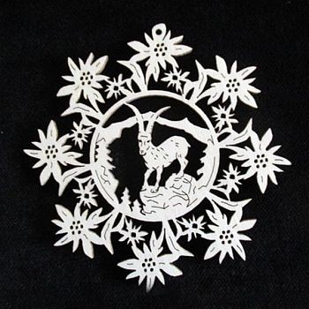Edelweiss mit Steinbock 9cm