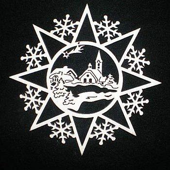 Schneeflocke mit Dorf