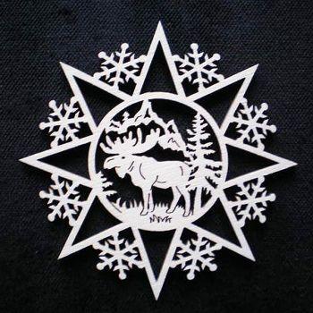 Schneeflocke mit Elch 6cm