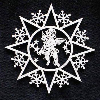 Schneeflocke mit Engel und Trompete 9cm