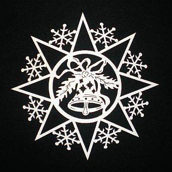 Schneeflocke mit Glocke 6cm