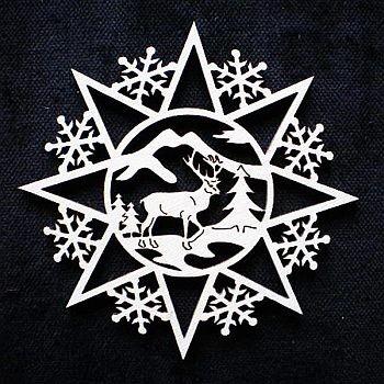 Schneeflocke mit Hirsch 6cm