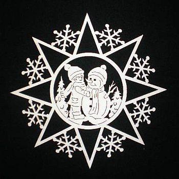 Schneeflocke mit Schneemann 6cm