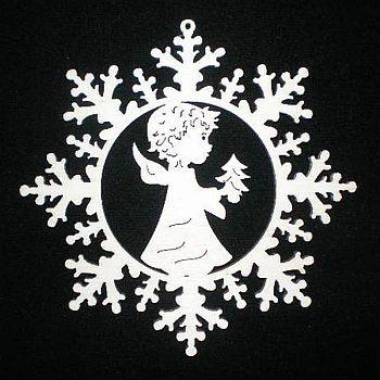 Schneestern mit Engel und Baum 9cm