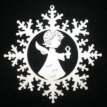 Schneestern mit Engel und Kerze
