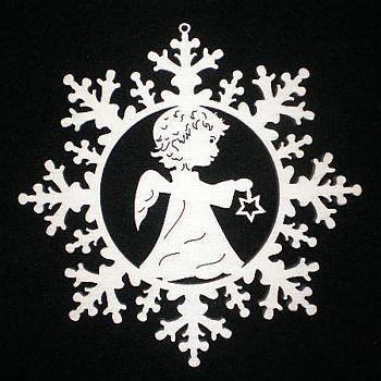 Schneestern mit Engel und Stern 9cm