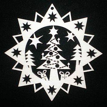 Stern mit Weihnachtsbaum 9cm